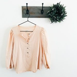La Vie Rebecca Taylor Pink Puff Sleeve Blouse L